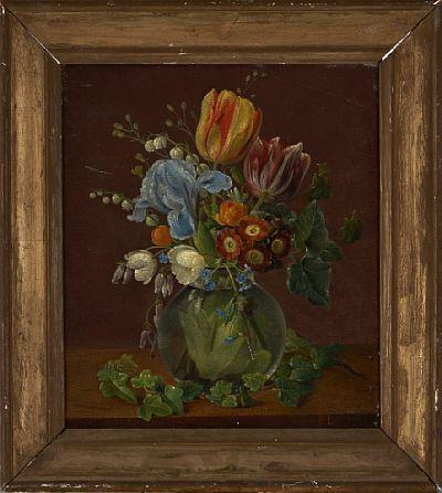 CHRISTINE MARIE LOVMAND DANSK 1803 - 1872  Blomsterstilleben Olje på plate, 28x24 cm Initialsignert nede til høyre: C.L.