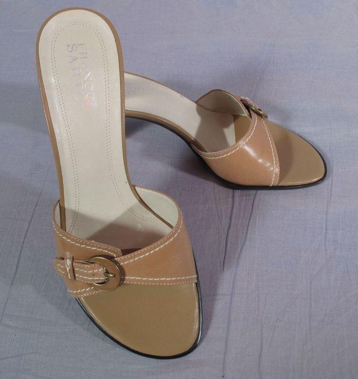 Women's Franco Sarto Sandals Brown Size 10 B Leather Slides Heels #FrancoSarto #Slides