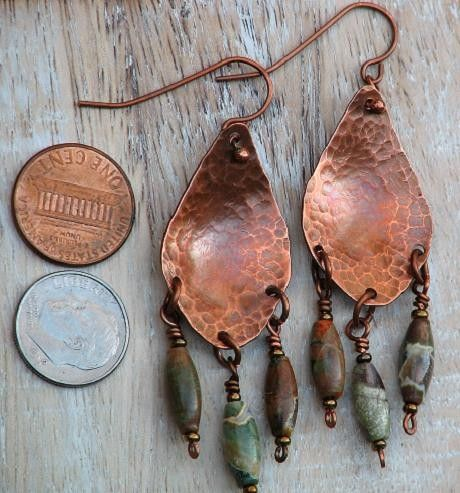 hammered metal jewelry | ... Hammered Copper Earrings Big Teardrop | OwlHollowStudio - Jewelry on