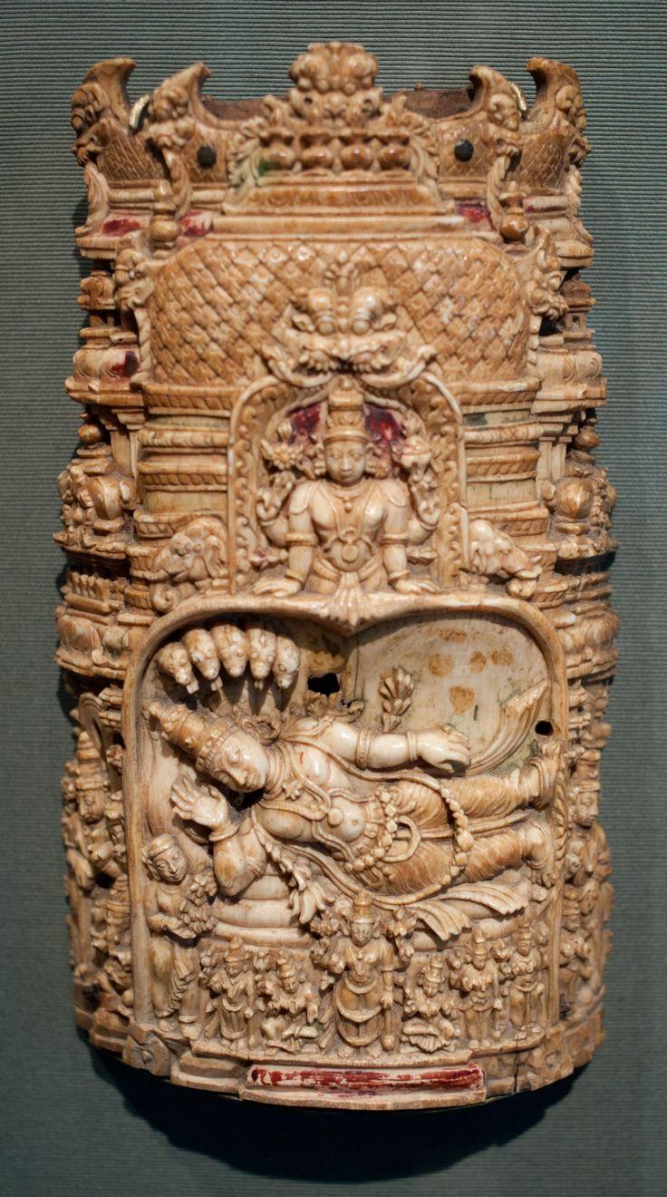 Carved Ivory of Vishnu sleeping on the Cosmic Ocean in a miniature Srirangaham…