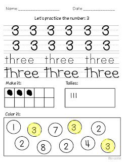Miss Kindergarten: Teaching Numbers Nice practice pages for independent work.