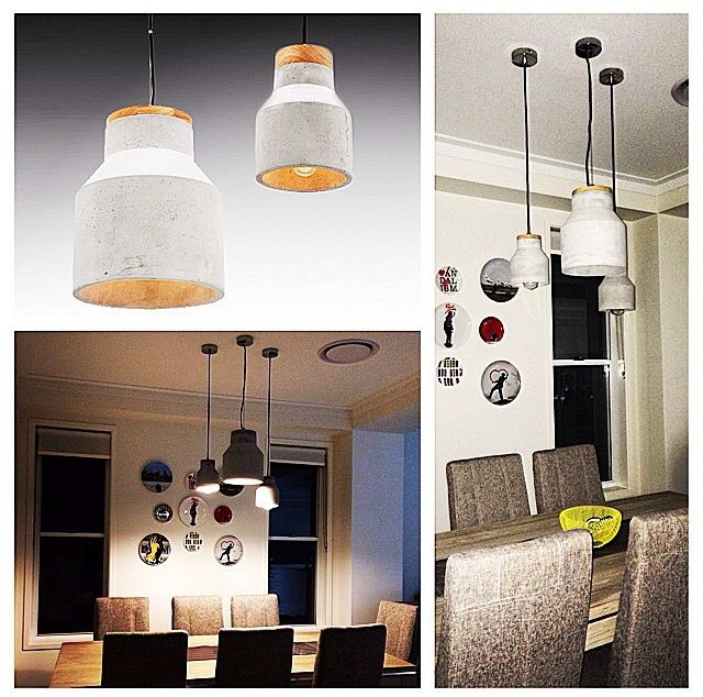 For this project we decided with our client to go with two sizes of concrete pendant lights- suspended on different heights. www.bitolalighting.com.au