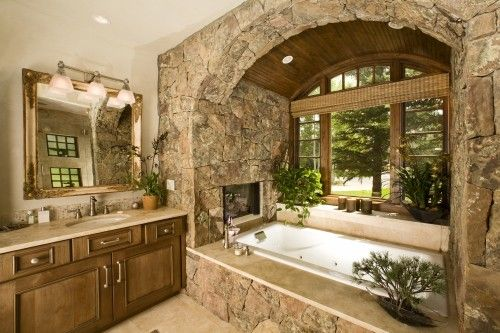 Note the built-in fireplace in the tub area.Bathroom Design, Fireplaces, Masterbath, Rustic Bathroom, Dreams House, Dreams Bathroom, Beautiful Bathroom, Bathroomdesign, Master Bathroom