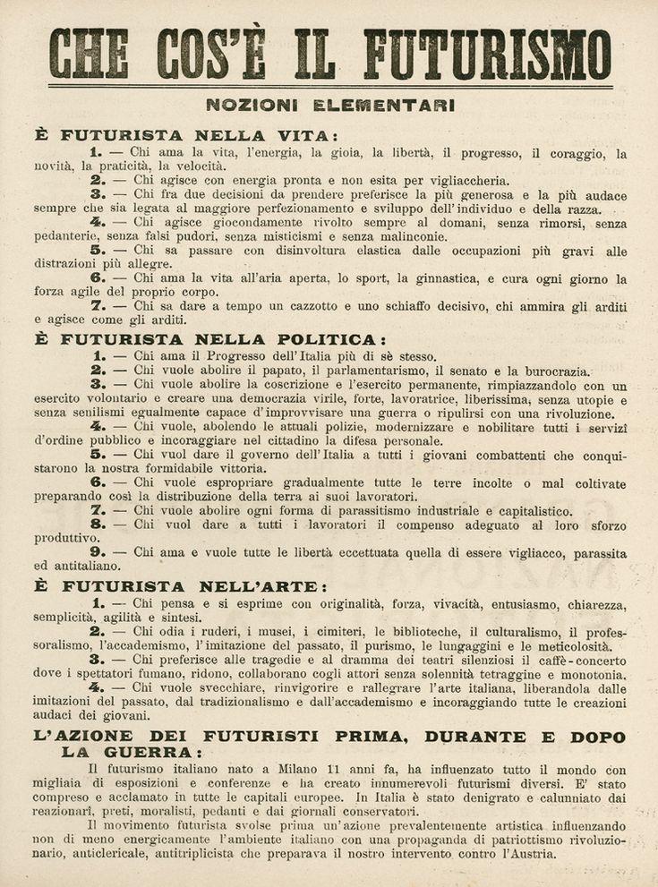 """MARINETTI Filippo Tommaso, """"Che cos'è il futurismo"""", marzo 1919  -  Futurism Manifest, original"""