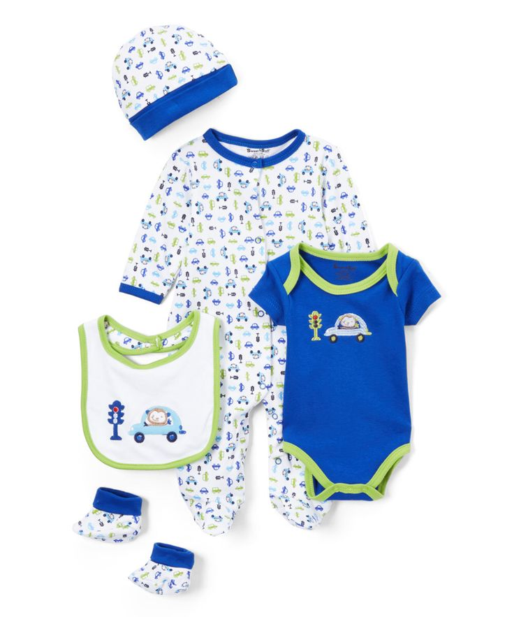 Look at this Sweet & Soft Royal Blue Car Five-Piece Layette Set - Infant on #zulily today!