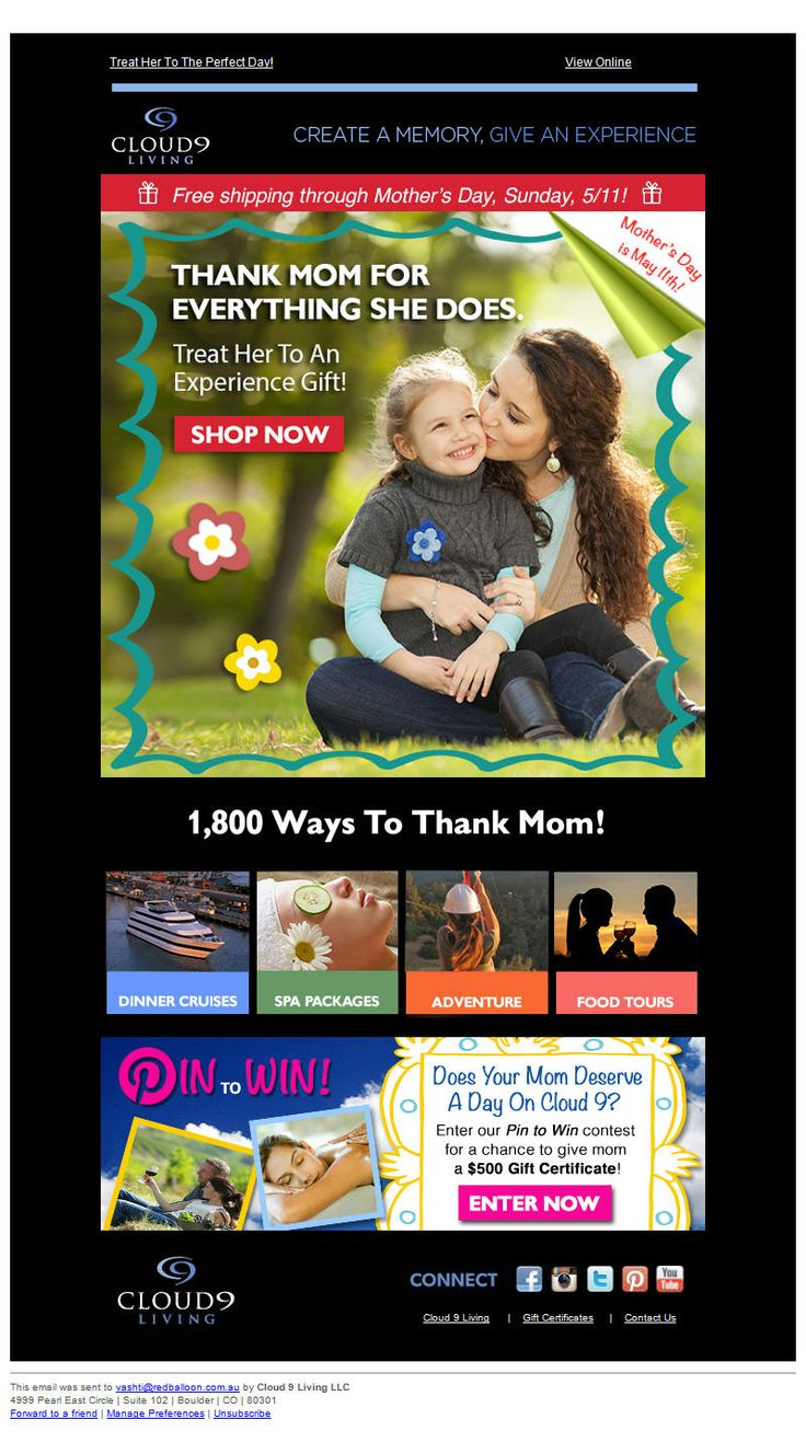 """Never like the design of these emails BUT like the """"1,800 ways to thank Mum"""" wording. We could use for anything."""