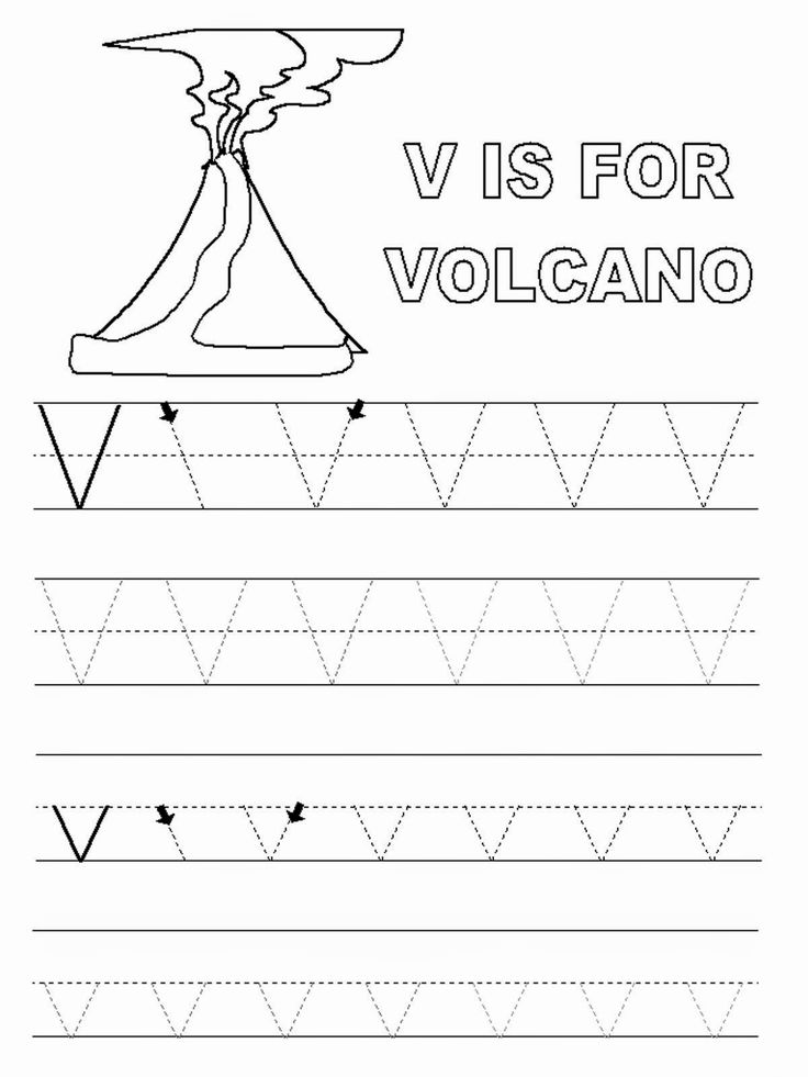 Worksheets for Kindergarten Letter V in 2020 Volcano