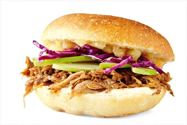 Pulled pork and apple bun - Spread 1-2 tablespoons mayonnaise on the base of a burger un and 1-2 tablespoons apple sauce on the top of the bun. Top the base with 3/4 cup warmed pulled (slow-cooked) pork, 1 thinly sliced green apple and 1/2 cup finely shredded red cabbage. Sandwich together.