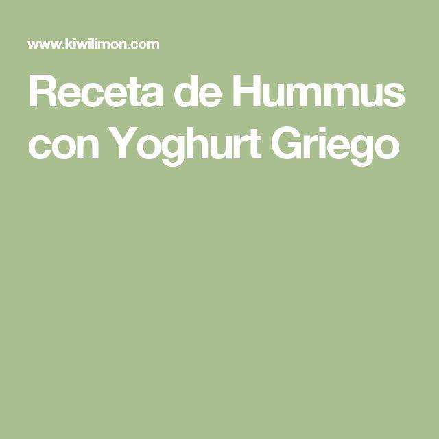 Receta de Hummus con Yoghurt Griego
