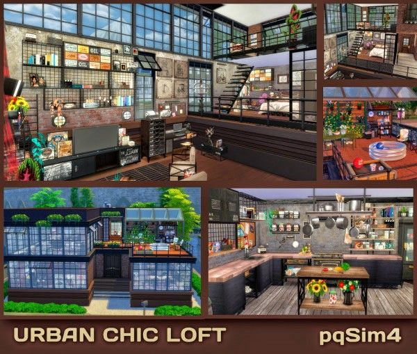 PQSims4: Urban Chic Urban Loft • Sims 4 Downloads