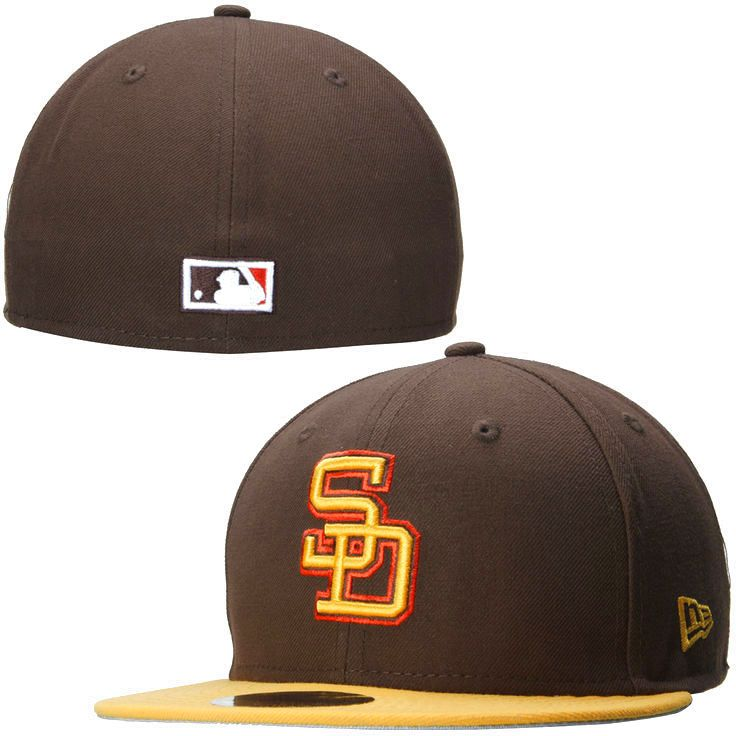 Mens San Diego Padres MLB 2 Tone Southpaw 59FIFTY Hat - Brown - $27.99