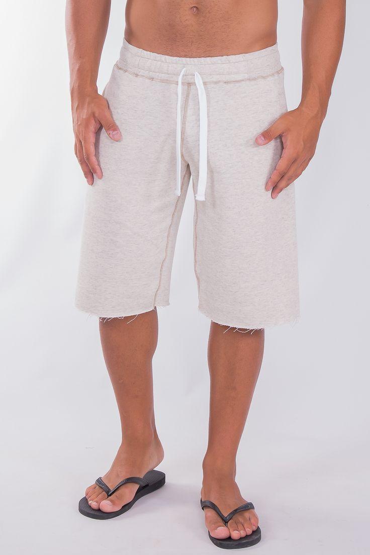 Beige Melange Sweat Shorts In Straight Cut