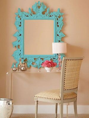 Beautiful mirror!Decor Ideas, Vanities, Southern Charm, Bedrooms, Aqua, Painting, Frames Mirrors, Bright Colors, Mirrors Mirrors
