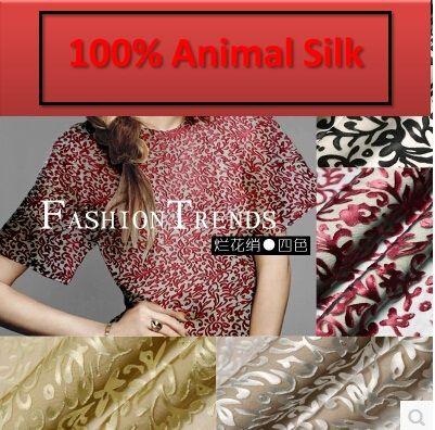 100% pure mulberry Silk burnt out raw silk fabrics silk yarn semi permeable material material dressmaking materials yards A879-