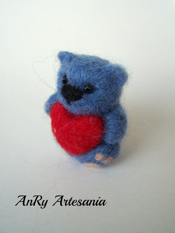 Valentine's Day giftNeedle felted pocketminiature blue by ArteAnRy, €10.00
