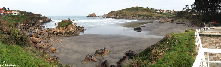 Panoramic view of the Santa María del Mar beach in Asturias, Spain. A cloudy day could not make me love Santa María del Mar less :)