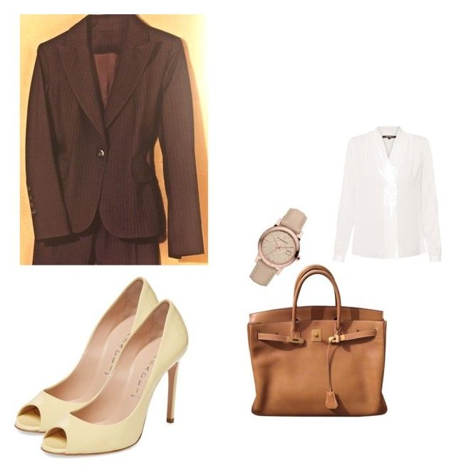"""Office 9"" by marmileva-tanya on Polyvore featuring мода, Kobi Halperin, Burberry, Hermès и Casadei"