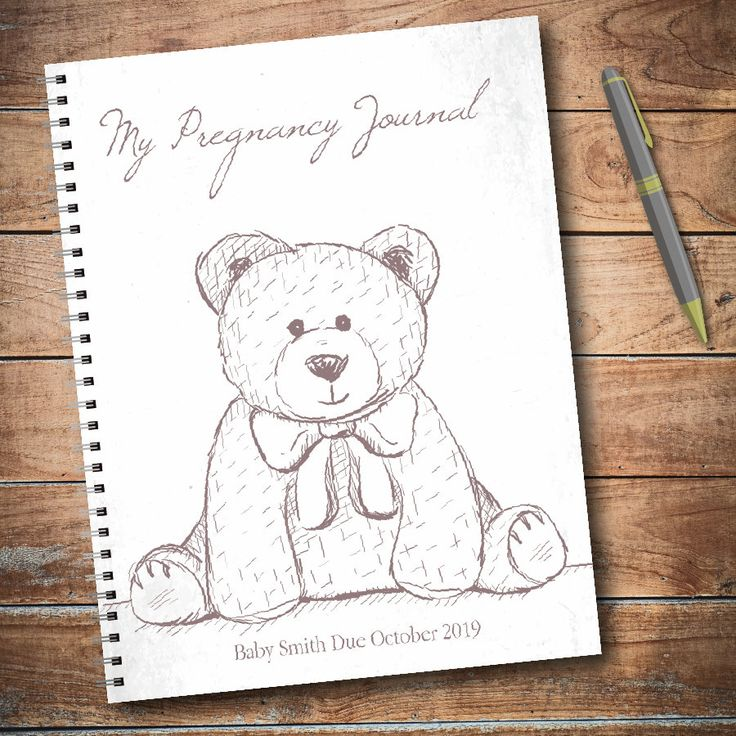 Personalized pregnancy diary with planned pages – teddy bear, gender neutral, baby p …   – Pregnancy Journals