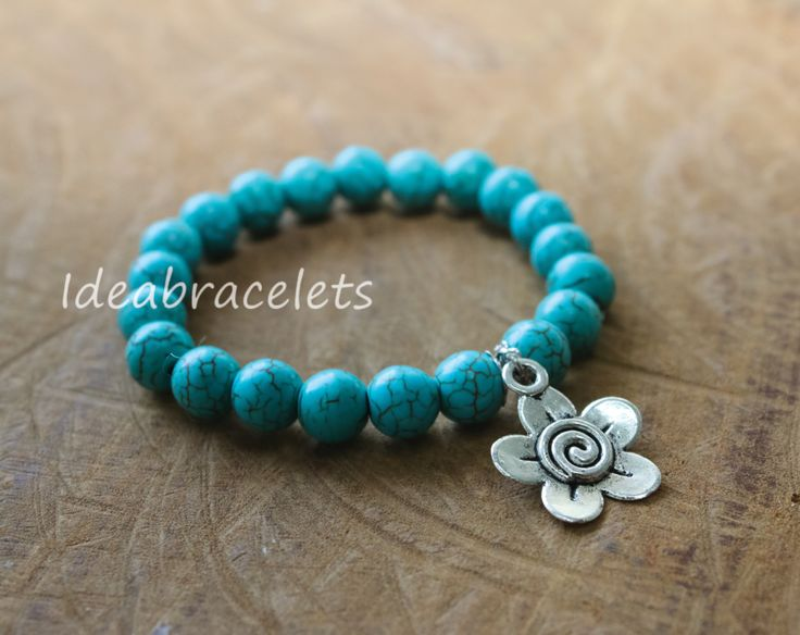 Turquoise Stretchy Bracelet, Lucky Stone Braclets, Natural Gemstone Bracelet, Cute Gemstone Bracelet, Sagittarius Birthstone, December Stone by IdeaBracelets on Etsy