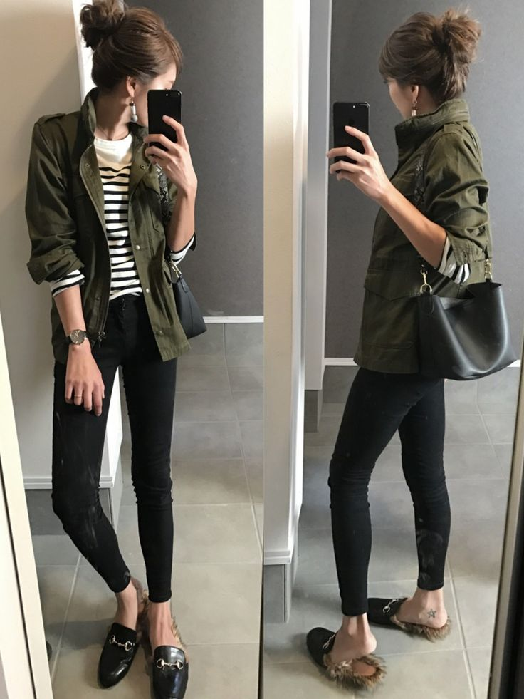 Olive green utility jacket, striped shirt, skinny black pants