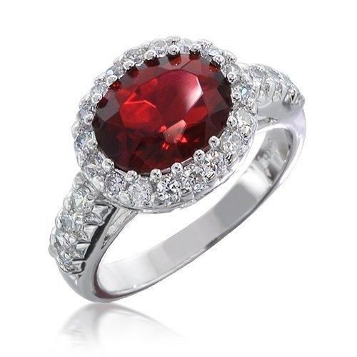 Bling Jewelry Vintage Style Crown CZ Ruby Color Engagement Ring