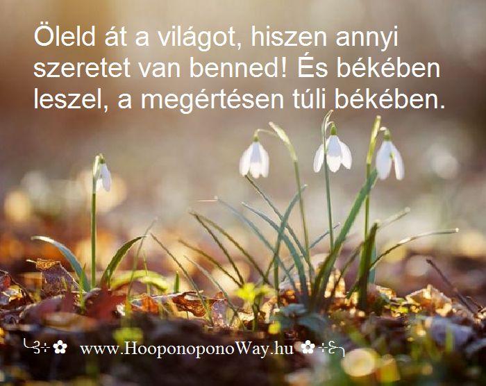 Hálát adok a mai napért. Öleld át a világot, hiszen annyi   szeretet van benned! És békében leszel, a megértésen túli békében. A béke csak VELED kezdődik. Valódi mestermű.   ╰⊰⊹✿ Köszönöm ♡ Szeretlek εїз Ho'oponoponoway ✿⊹⊱╮ www.HooponoponoWay.hu