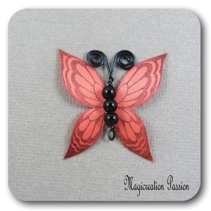papillon 3.5 cm soie rouge corps de perles noires et métal noir-Ysatis : Décoration d'intérieur par les-tiroirs-de-magicreation-passion