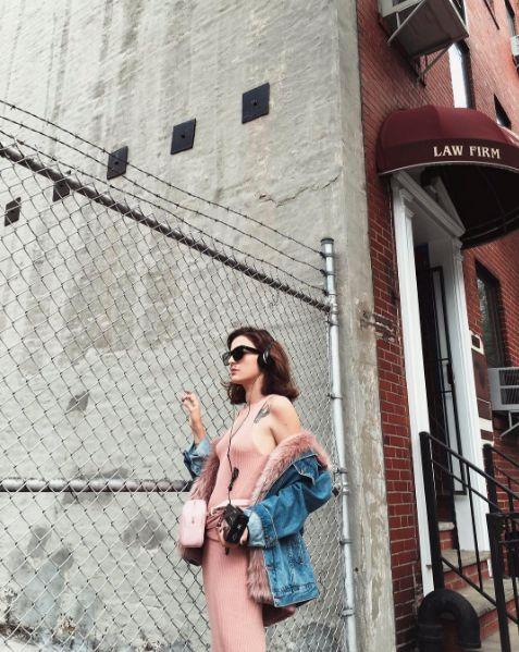 Eleonora Carisi dressed in PINKO at New York Fashion Week