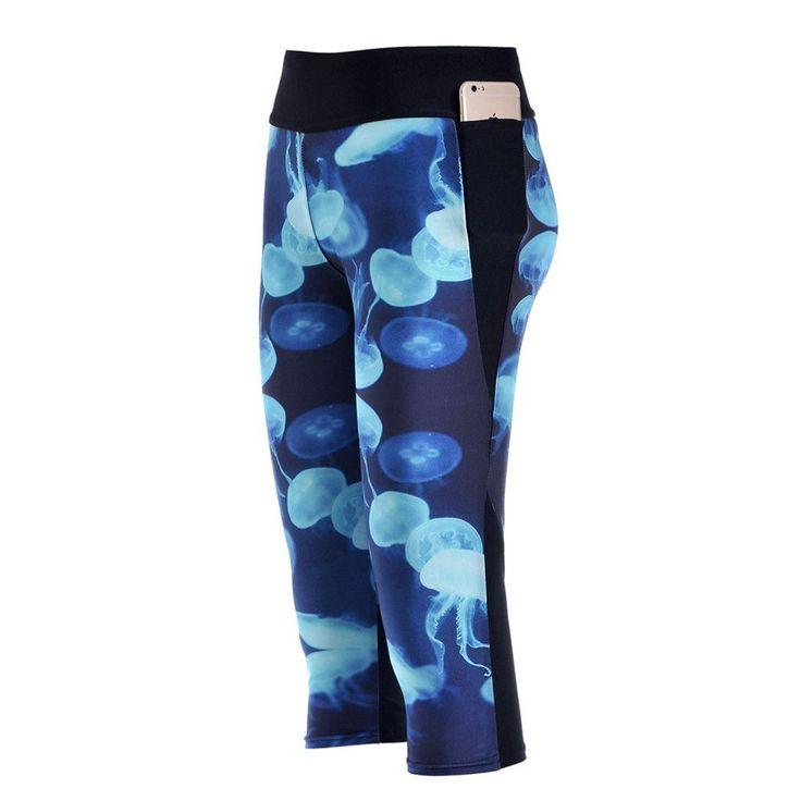 Capri Leggings Blue jellyfish yoga pants