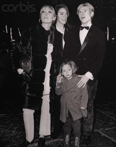 Christian Aaron Boulogne with his mother, Nico, & Andy Warhol