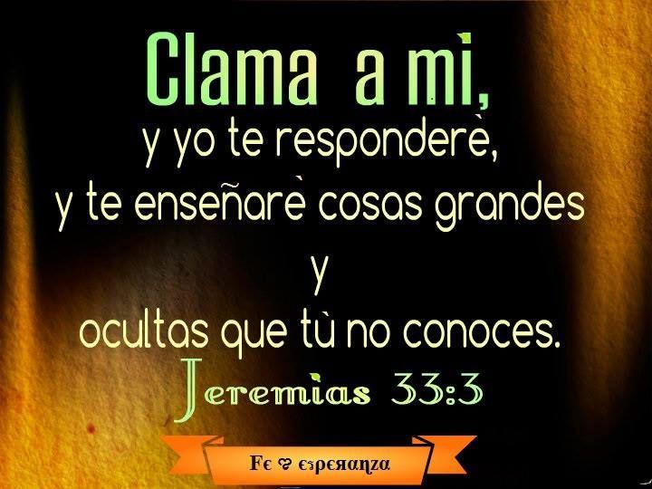 Clama a mí, y yo te responderé, y te enseñaré cosas grandes y ocultas que tú no conoces.   Jeremías 33:3
