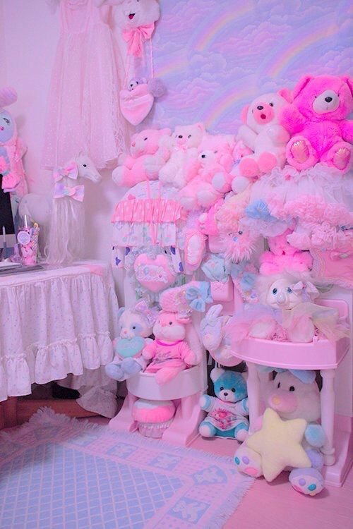 kawaii pastel aesthetic pink bedroom background plushies rooms colors grunge rainbow toy story lolita clothes bedrooms decor toys second account