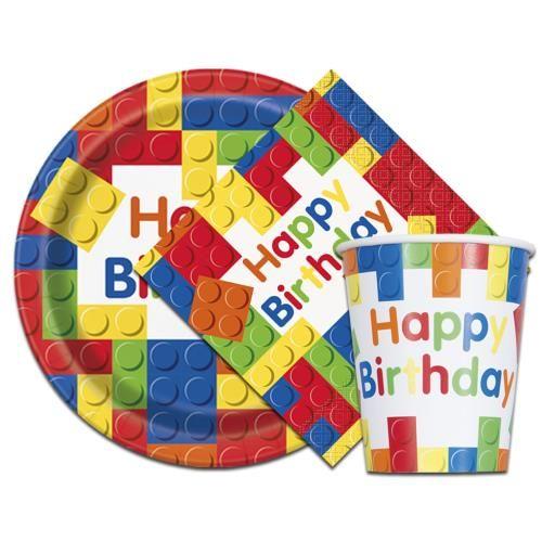 Set of Plates (8) Napkins (16) Cups (8) Boys Birthday Party Lego Building Blocks Bundle