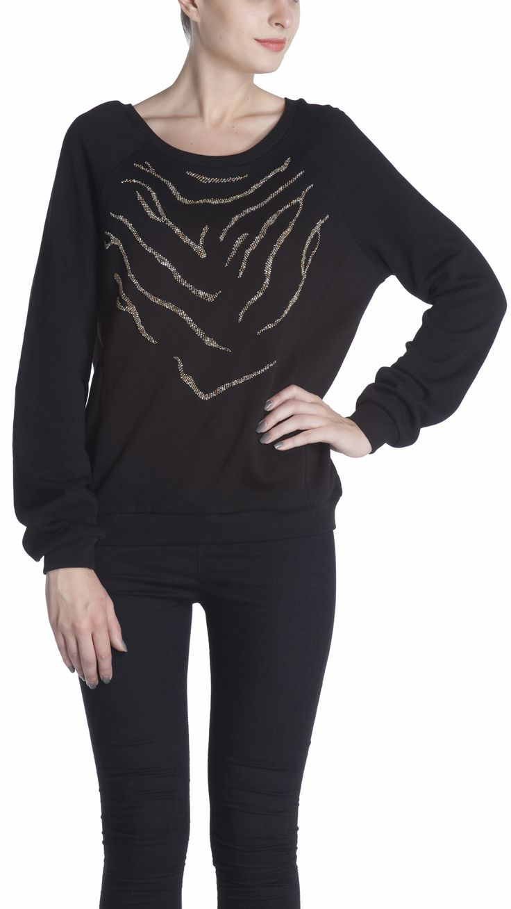 Comfort fit sweatshirt with bead work embellishment , styled with side panel, and full sleeve