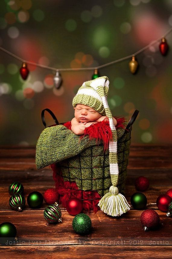 Long Tail Baby Elf Hat Stripe Pompon Crochet Pattern Photography 2014 Christmas - Jingle Bells, Grid Basket,  Christmas Crafts