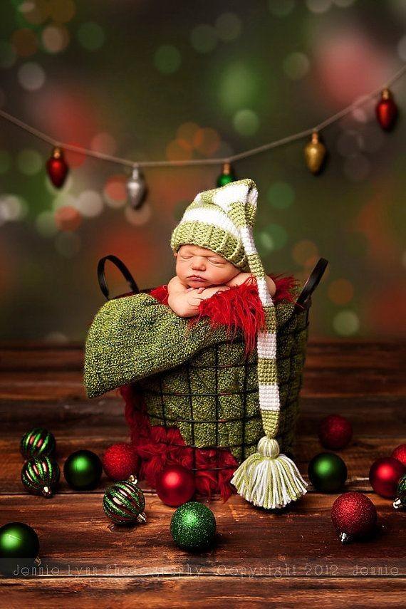 Long Tail Baby Elf Hat Stripe Pompon Crochet Pattern Photography 2014 Christmas - Jingle Bells, Grid Basket,  Christmas Crafts
