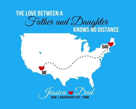 Father Daughter Long Distance - 8x10 Custom Map Art Print, Gift for Dad from Daughter - Quote, Far Away, Missing You, Family, Daddys Girl