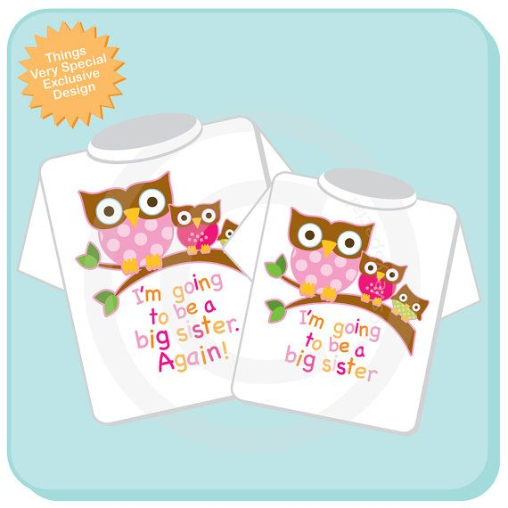 Set of Two I'm going to be a Big Sister again by ThingsVerySpecial, $28.99