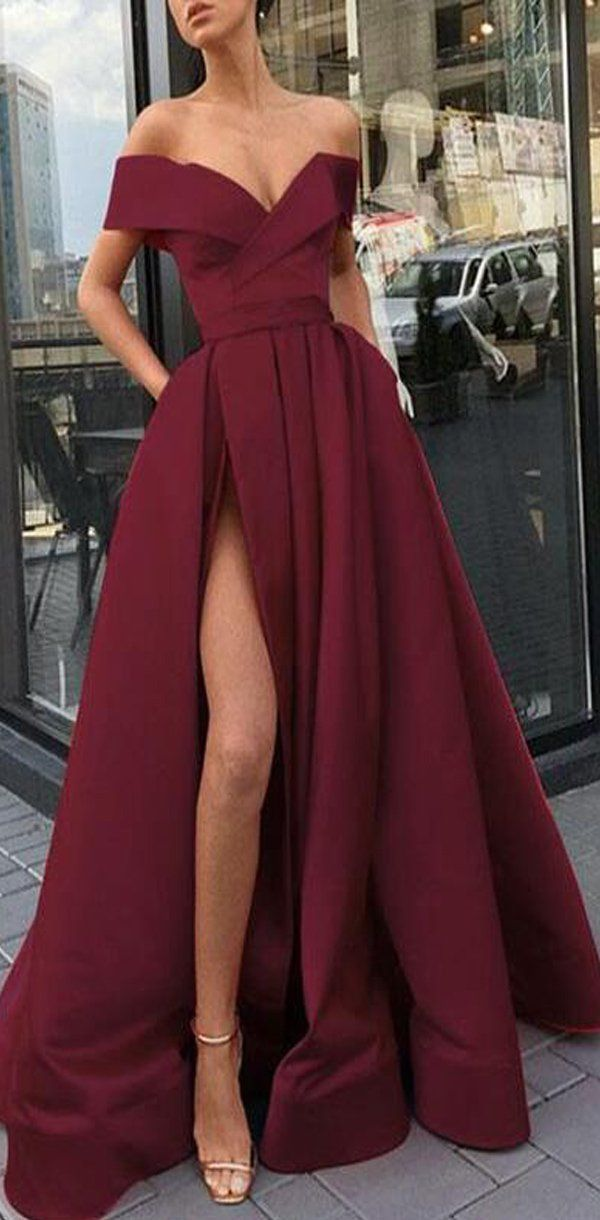 Elegant Fashion Chea Red Long Women Formal Prom Dresses,Evening Gowns 2019 with Split, PD0966 Elegant Fashion Chea Red Long Women Formal Prom Dresses,Evening Gowns 2019 with Split, PD0966