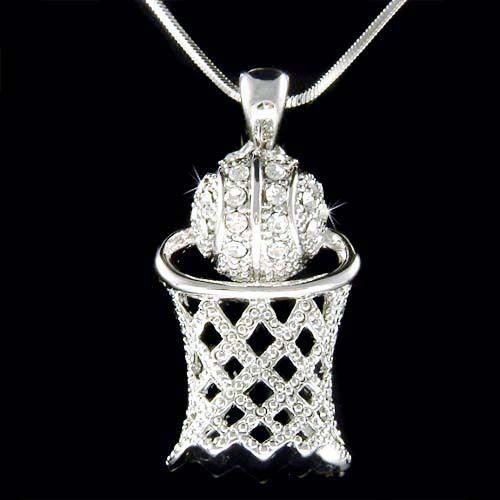 W Swarovski Crystal Basketball Hoop Net Sports Pendant Charm Chain Necklace New | eBay