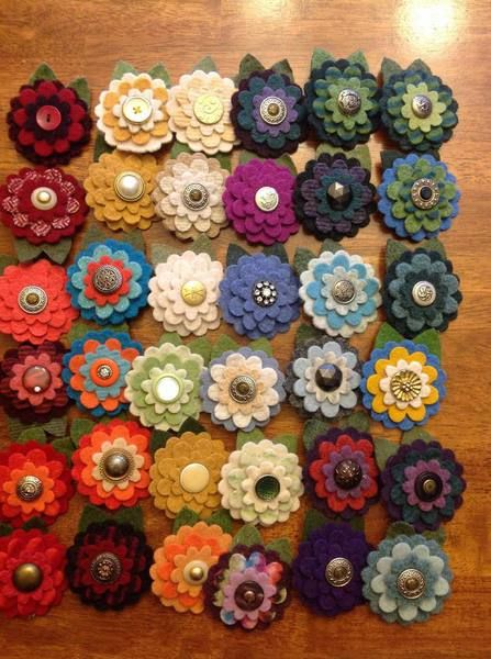 made from vintage buttons and recycled wool