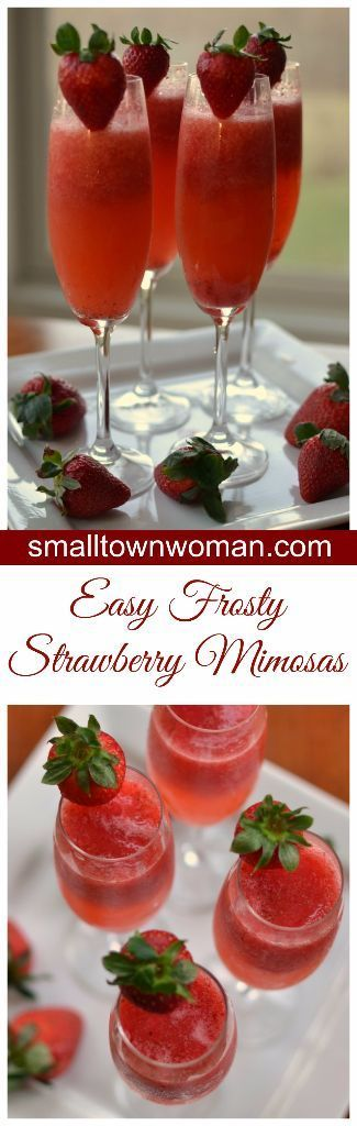 Frosty Strawberry Mimosas