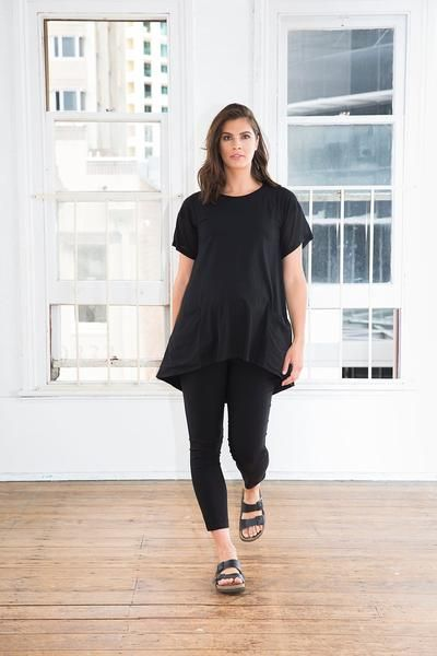 Boyfriend Maternity Tunic Dress (available in Black & Navy). Street style, modern maternity clothes.