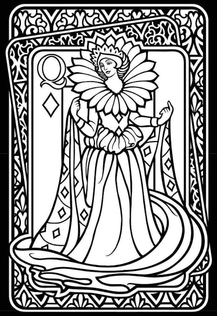 Coloring book playing cards murderthestout for Playing cards coloring pages