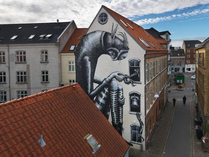 New mural by PHLEGM (GB) - for the No Limit Borås Festival - Borås, Sweden - Sept 2015
