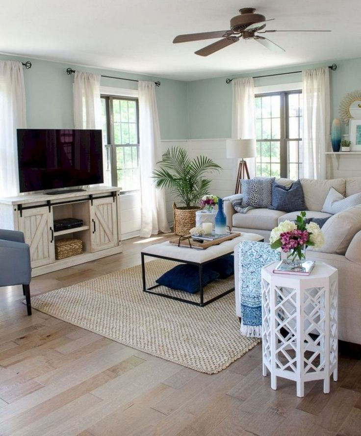 44 remarkable beachy farmhouse living room decorating