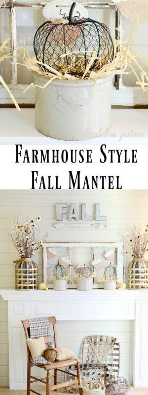 Farmhouse Style Neutral Fall Mantel