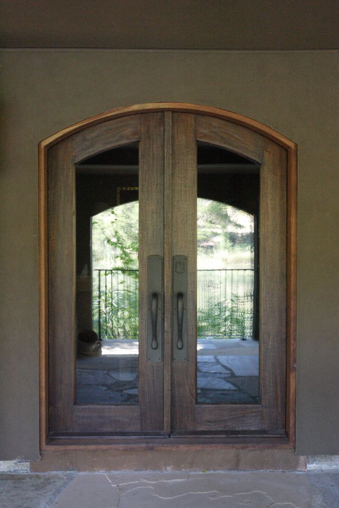 Borano modena arched top solid mahogany double french for Glass french doors exterior