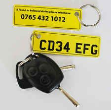 Personalised number plate keyring, key tag. Custom car numberplate. Any text