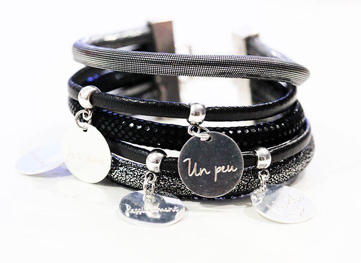 Bracelet multi rangs noir & argenté